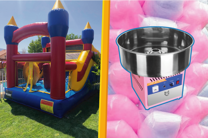 juego inflable algodón dulce